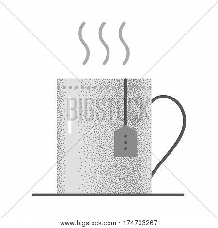 Set of black and white vintage tea icons with retro texture. Cup with hot tea and teabag. Mug with herbal beverage. Vector vintage icon. Illustration isolated on white background.