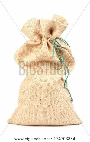 Empty burlap pouch on white background. A close up