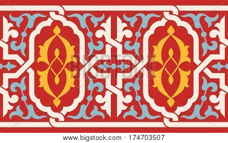 Arabic Floral Seamless Border. Traditional Arabic Islamic Design