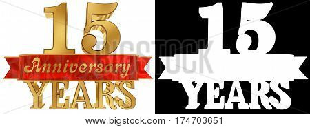 Golden digit fifteen and the word of the year. 3D illustration