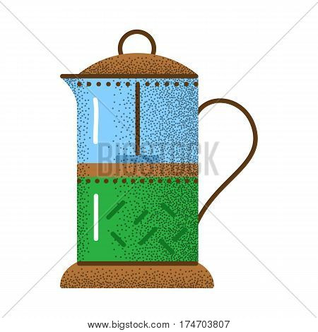Tea icon retro texture. Glass teapot for hot coffee and tea. French press vintage icon. Kitchen equipment. Vector outline illustration isolated on white background.