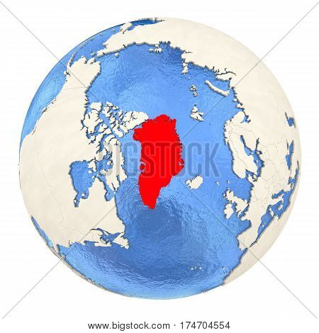 Greenland In Red On Full Globe Isolated On White