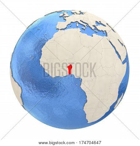 Benin In Red On Full Globe Isolated On White