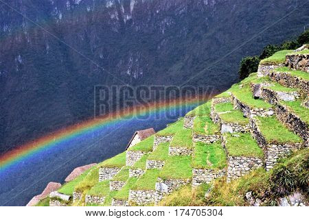 Machu Picchu, Peru Terraces in Machu Picchu in the Cusco Region, Peru