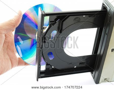 man hand put the CD or Dvd placed into the tray, hardware for records and storage data or play multimedia file for computer