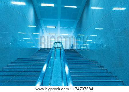 stairway of modern office building, blue toned images.