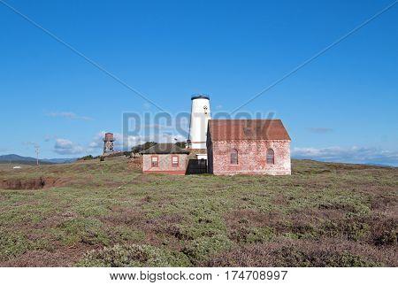 Red Brick Fog Signal Building At The Piedras Blancas Lighthouse On The Central California Coast Usa