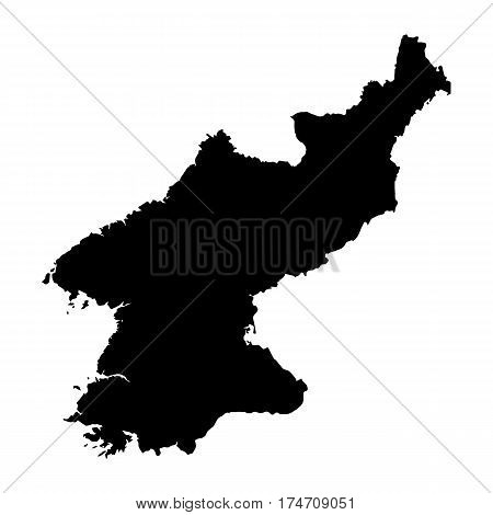 Black map of North Korea on a white background