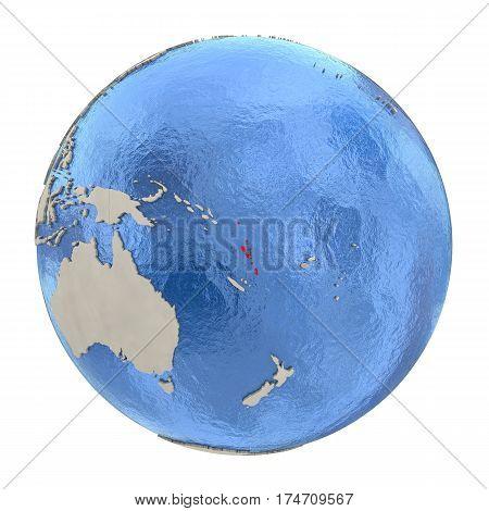 Vanuatu In Red On Full Globe Isolated On White