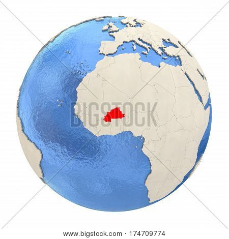 Burkina Faso In Red On Full Globe Isolated On White