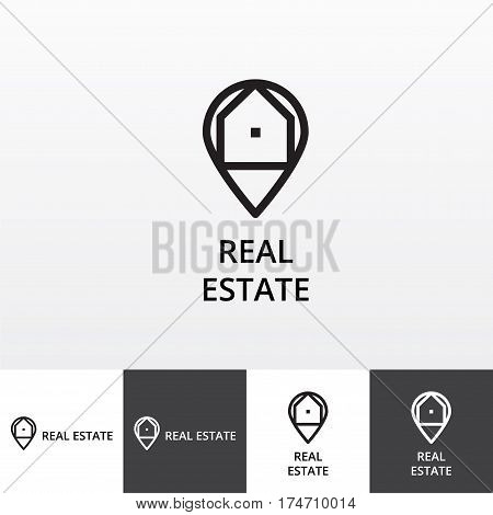 Vector logotype for realty services company eps file horisontal and vertical view
