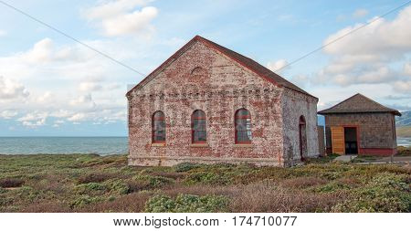 Red Brick Fog Signal Building at the Piedras Blancas Lighthouse on the Central California Coast US