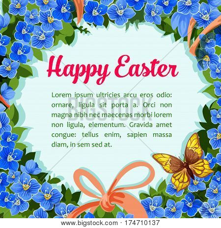 Happy Easter poster or paschal greeting template of spring blue flowers wreath, ribbon bow and butterflies. Vector design for Easter or catholic and orthodox Resurrection Sunday religion holiday