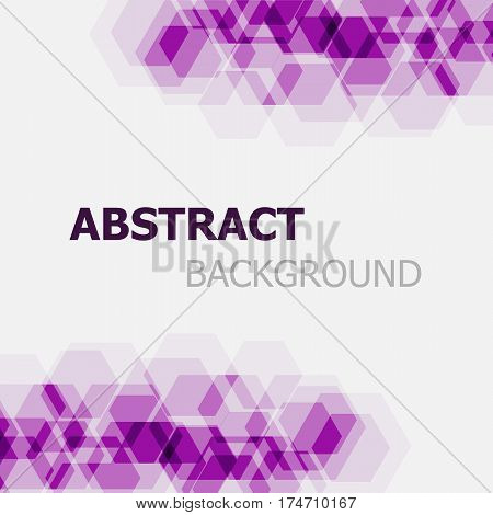 Abstract purple hexagon overlapping background, stock vector