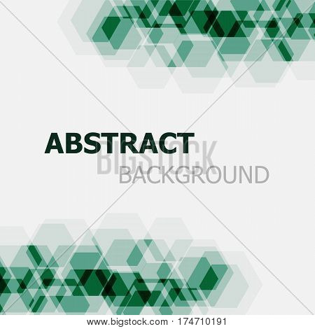 Abstract dark green hexagon overlapping background, stock vector