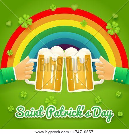Saint Patrick Day Celebration Success and Prosperity Symbol Hands Holds Mug of Beer Foam Icon on Stylish Background Greeting Card Flat Design Vector Illustration