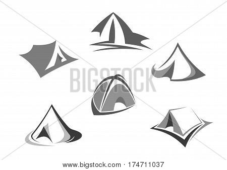 Travel tent isolated icon set. Camping and hiking dome tent, outdoor adventure triangle tent for travel, tourism, camping themes design