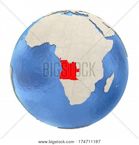 Angola In Red On Full Globe Isolated On White
