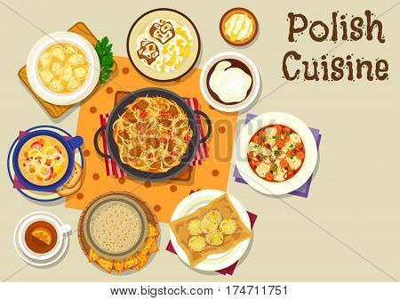 Polish cuisine tasty lunch icon with bean sausage soup, cabbage stew with sausage and ham, beer bread soup, meat dumplings, carp fish vegetable stew, lamb steak, donut, pumpkin starch drink