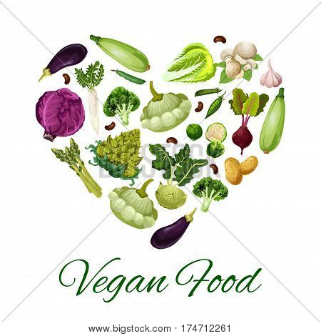 Vegetable food heart. Fresh cabbage, broccoli and eggplant, potato, garlic and mushroom, bean and zucchini, radish, kohlrabi and beet, asparagus, brussel sprouts, romanesco and pattypan squash