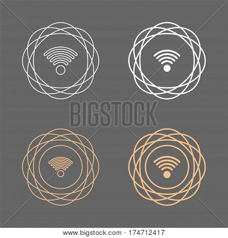 wifi circular circle shape line icon set,vector Illustration EPS10