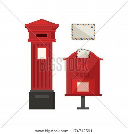 Red postbox vector illustration with vertical pillar letter-box, public wall letterbox and envelope. Vintage mailbox set with classic london post box icons.