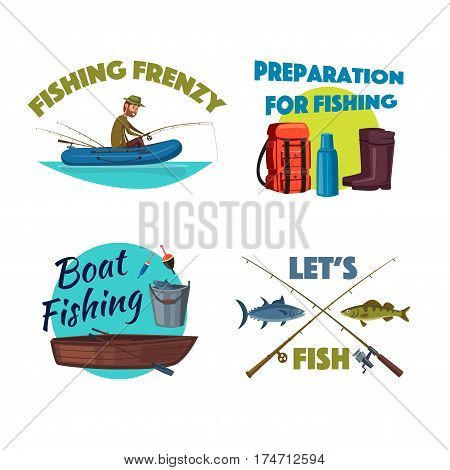 Boat fishing cartoon icon set. Fisherman is fishing from the rubber boat with rod, sea and river fish with crossed spinning rod, fishing tackles, wooden boat, bucket, boots, backpack. Fishing design