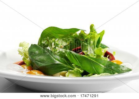 Salad - Smoked Magret (Duck Breast) with Red Chaud-Froid Sauce. Comprises Tomato and Vegetable Leaf. Isolated on White Background