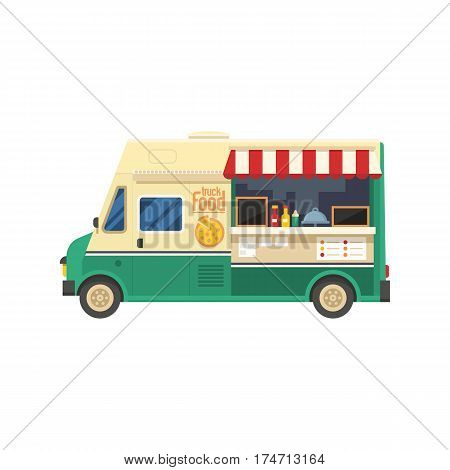 Street food truck shop isolated on white background. Mobile kitchen van vector illustration.