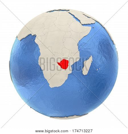 Zimbabwe In Red On Full Globe Isolated On White