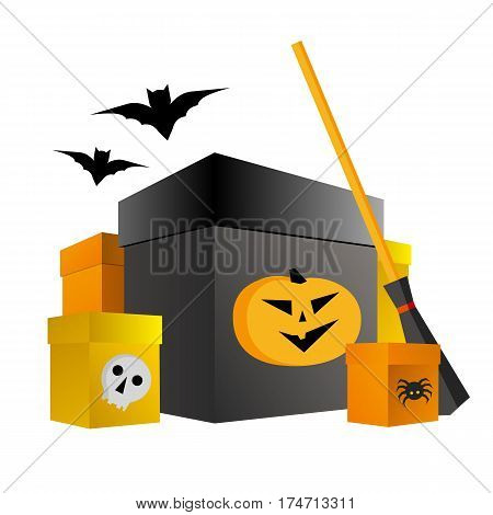 Halloween Shopping. Present Boxes With Pumpkin, Spider And Skull