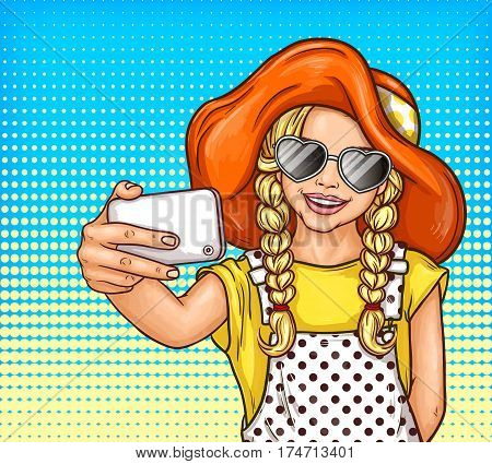 Vector pop art illustration of a little girl with pigtails in sunglasses and vintage hat makes selfie on smartphone