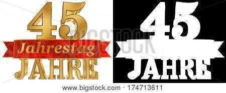 Golden digit forty five and the word of the year. Translated from the German. 3D illustration