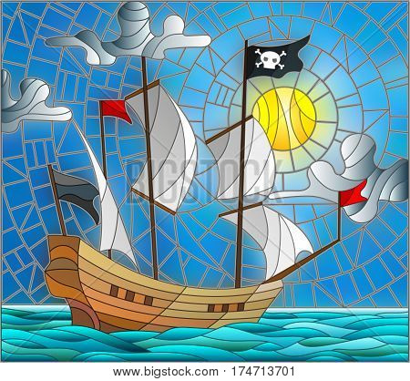 Illustration in stained glass style with a pirate ship in the sun a cloudy sky and ocean