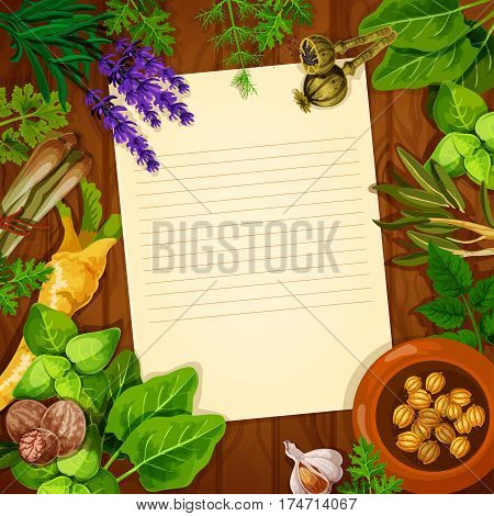 Blank paper with spices and herbs on wooden background. Fresh dill, garlic, basil, parsley, rosemary, nutmeg, thyme, celery, cardamom seed, poppy and lavender for food cooking recipe or menu design