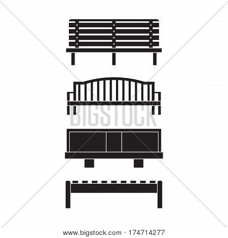 City bench icon set with modern and wooden benches silhouettes for street or garden in outline design.