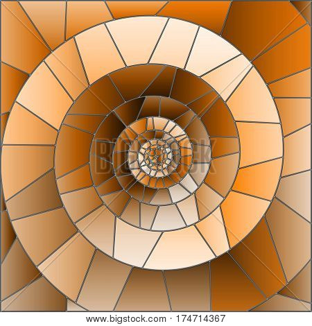 Abstract mosaic image tiles arranged in a spiralbrown tone Sepia