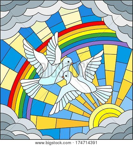 Illustration in stained glass style with a pair of white pigeons is not the background of the Sunny sky rainbow and clouds