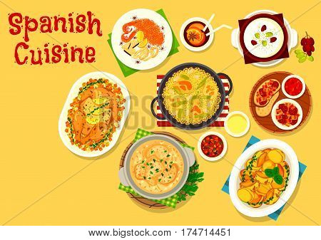 Spanish cuisine icon of fried bacon and sausage tapas, chicken rice paella, seafood tomato pasta, potato with chilli and garlic sauce, rabbit in bread sauce, baked chicken with lemon, almond soup