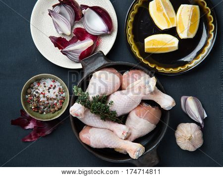 Preparing chicken drumsticks for cooking chicken meal
