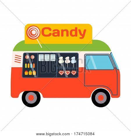 Street food festival color trailer van restaurant car. Cafe urban mobile market event transport. Vector illustration fast delivery service automobile.