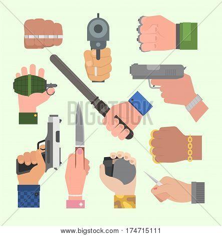Hand firing with gun protection ammunition vector