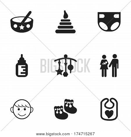 Set Of 9 Editable Baby Icons. Includes Symbols Such As Spoon, Lineage, Tower And More. Can Be Used For Web, Mobile, UI And Infographic Design.
