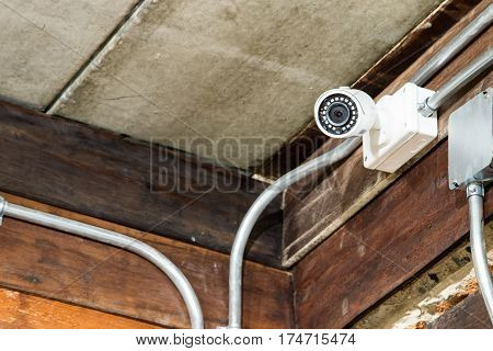 Cctv Camera On The Wall.