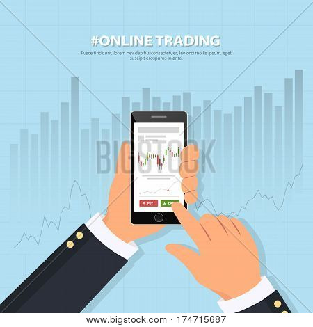 Online trading technology. Close-up of a person's hand holds smartphone with trade graphs. Binary options. Investing. Banner online trading on stock exchange. Flat vector illustration.