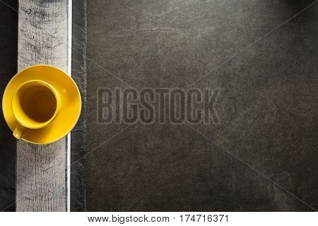empty cup and saucer at table background