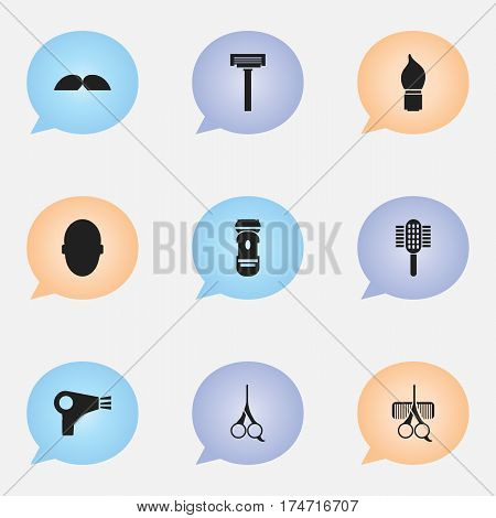 Set Of 9 Editable Hairdresser Icons. Includes Symbols Such As Brains, Desiccator, Whiskers And More. Can Be Used For Web, Mobile, UI And Infographic Design.