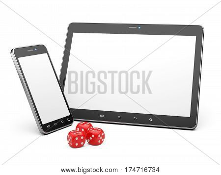 Smartphone and tablet with game dice. Online play concept. 3d illustration isolated on a white background.