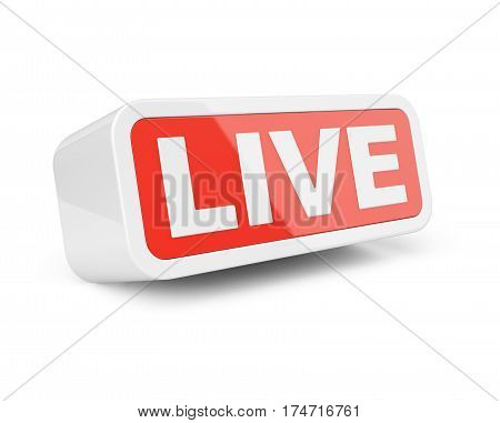 Live - white with red sign. Isolated on white background 3d illustration.