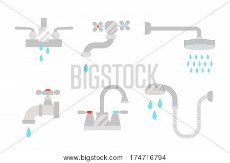 Bathroom shower icons with process water savings symbols concept hygiene collection and clean household washing silver dryer vector illustration. Flat interior of wash place tools design.